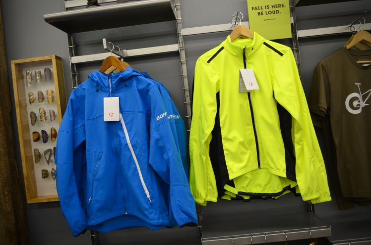 Bontrager Lithos softshell and Starvos high-viz jackets.